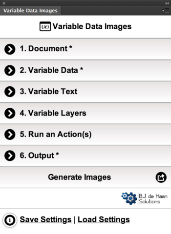 Variable Data Images Photoshop Add On - Start Page